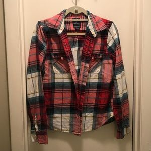 Red plaid flannel button down